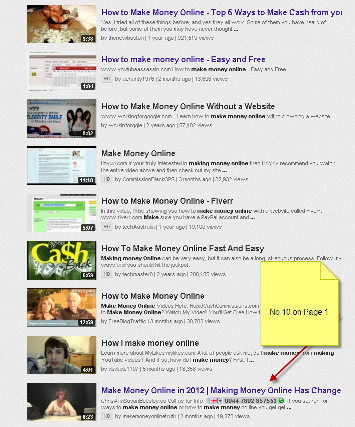 You Tube Position Page One